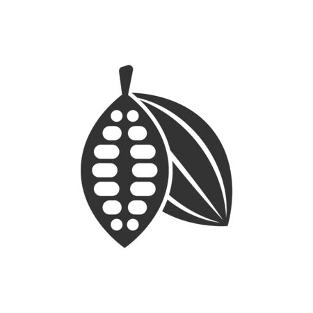Cocoa bean icon in flat style. Chocolate cream vector illustration on white isolated background. Nut plant business concept. Stock Illustratie