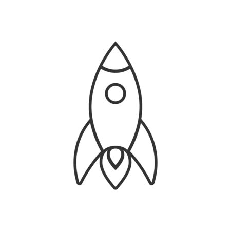 Rocket icon in flat style. Spaceship launch vector illustration on white isolated background. Sputnik  business concept.