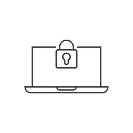 Locker computer icon in flat style. Padlock laptop vector illustration on white isolated background. Key unlock business concept.