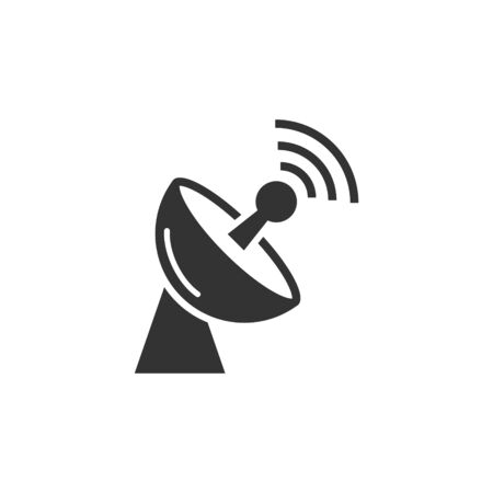 Satellite antenna tower icon in flat style. Broadcasting vector illustration on white isolated background. Radar business concept.