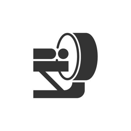 Icono de radiología en estilo plano. Ilustración de vector de tomografía sobre fondo blanco aislado. Concepto de negocio de escáner de resonancia magnética.