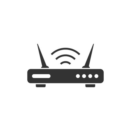 Wifi router icon in flat style. Broadband vector illustration on white isolated background. Internet connection business concept. Ilustrace