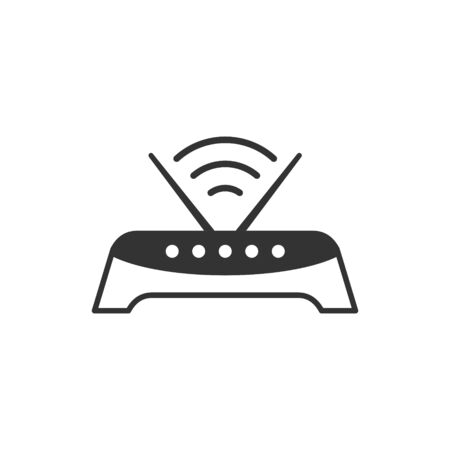 Wifi router icon in flat style. Broadband vector illustration on white isolated background. Internet connection business concept. 矢量图像