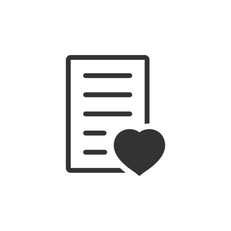 Wishlist icon in flat style. Like document vector illustration on white isolated background. Favorite list business concept.