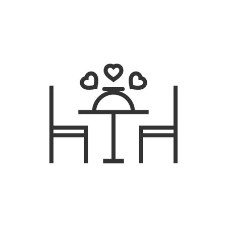 Romantic dinner icon in flat style. Cafe vector illustration on white isolated background. Restaurant business concept.