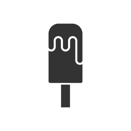 Ice cream icon in flat style. Sundae vector illustration on white isolated background. Sorbet dessert business concept.