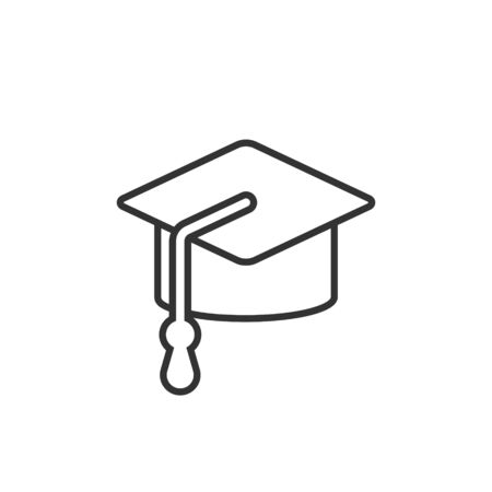 Graduation hat icon in flat style. Student cap vector illustration on white isolated background. University business concept.