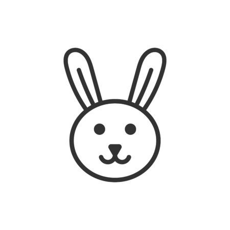 Rabbit icon in flat style. Bunny vector illustration on white isolated background. Happy easter business concept. Foto de archivo - 134878914
