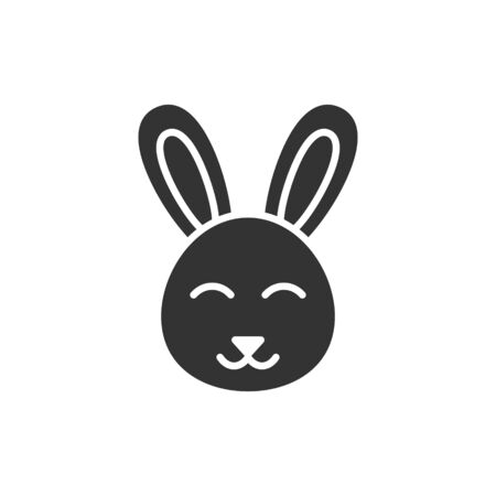 Rabbit icon in flat style. Bunny vector illustration on white isolated background. Happy easter business concept.