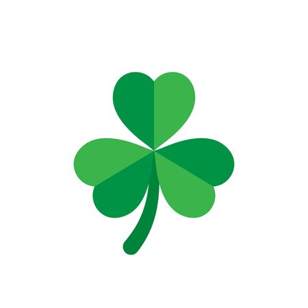 Three leaf clover icon in flat style. St Patricks Day vector illustration on white isolated background. Flower shape business concept. Ilustracja