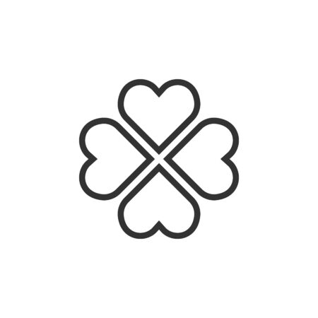 Four leaf clover icon in flat style. St Patricks Day vector illustration on white isolated background. Flower shape business concept.