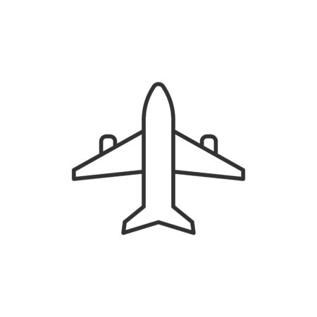 Plane icon in flat style. Airplane vector illustration on white isolated background. Flight airliner business concept. Ilustracja