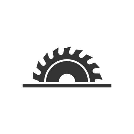 Saw blade icon in flat style. Circular machine vector illustration on white isolated background. Rotary disc business concept.
