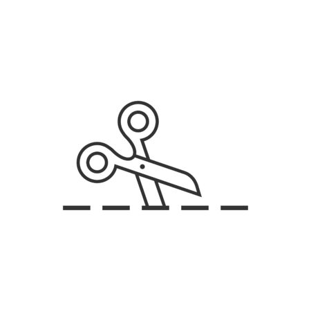 Scissor with cutting line icon in flat style. Cut equipment vector illustration on white isolated background. Cutter business concept.
