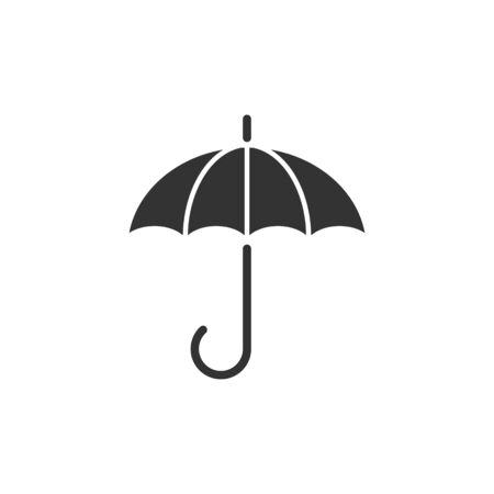 Umbrella icon in flat style. Parasol vector illustration on white isolated background. Canopy business concept.