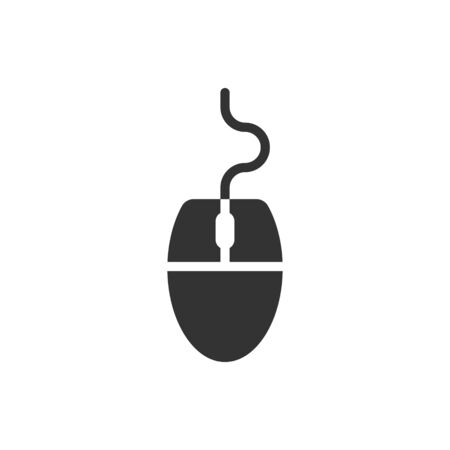 Computer mouse icon in flat style. Cursor vector illustration on white isolated background. Pointer business concept. Ilustracja
