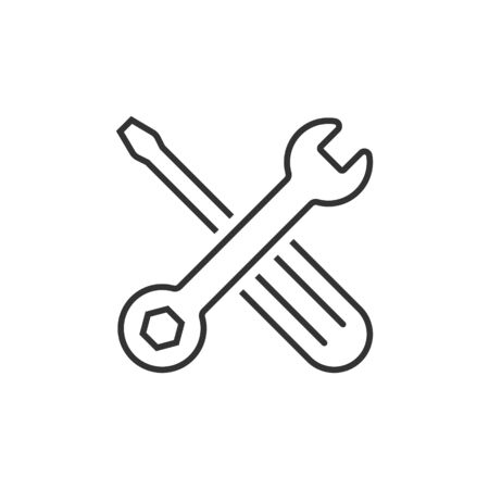Wrench and screwdriver icon in flat style. Spanner key vector illustration on white isolated background. Repair equipment business concept.