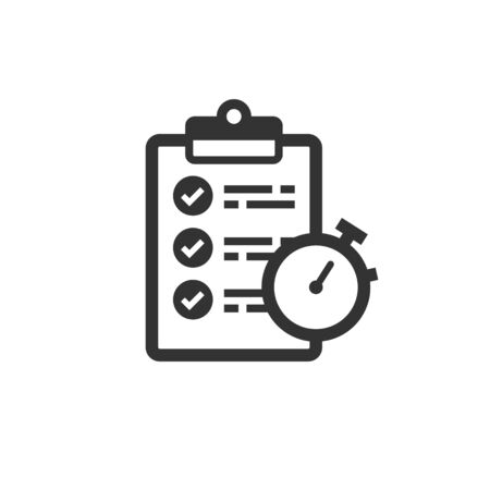 Document witch clock icon in flat style. Checklist survey vector illustration on white isolated background. Fast service business concept.