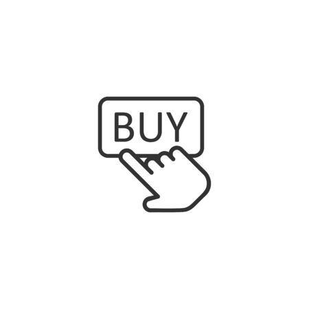 Buy shop icon in flat style. Finger cursor vector illustration on isolated background. Click button business concept.