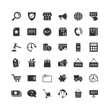 Jeu d'icônes de magasinage dans un style plat. Illustration de commerce en ligne sur fond blanc. Concept d'entreprise de magasin de marché.