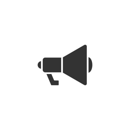Megaphone speaker icon in flat style. Bullhorn sign vector illustration on white isolated background. Scream announcement business concept.