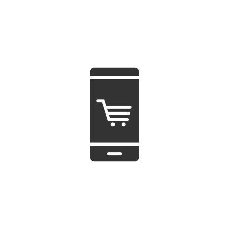 Online shopping icon in flat style. Smartphone store vector illustration on white isolated background. Market business concept.