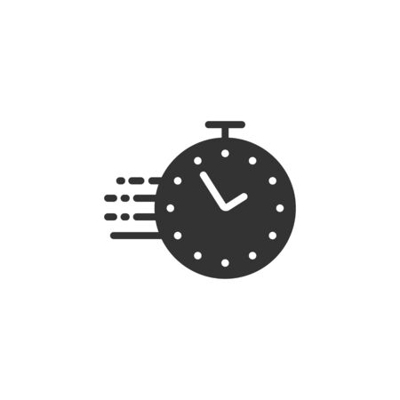 Clock icon in flat style. Watch vector illustration on white isolated background. Timer business concept.