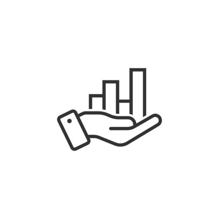 Growth revenue icon in flat style. Diagram with hand vector illustration on white isolated background. Finance increase business concept.  イラスト・ベクター素材
