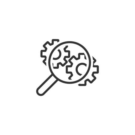 Loupe with gear icon in flat style. Magnifying glass vector illustration on white isolated background. Seo exploration business concept.