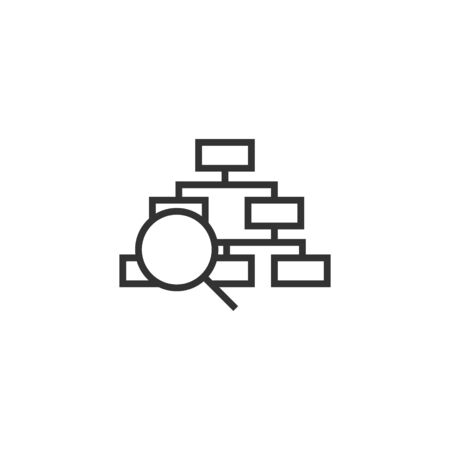 Hierarchy diagram icon in flat style. Structure search vector illustration on white isolated background. Organization workflow business concept.  イラスト・ベクター素材