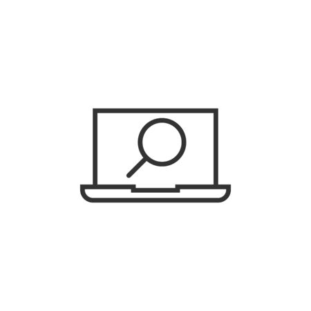 Computer search icon in flat style. Laptop with magnifying glass vector illustration on white isolated background. Device display business concept.