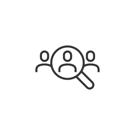 Search job vacancy icon in flat style. Loupe career vector illustration on white isolated background. Find people employer business concept.  イラスト・ベクター素材