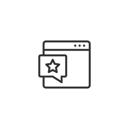 Browser window with star icon in flat style. Wish list vector illustration on white isolated background. Reward bonus business concept.