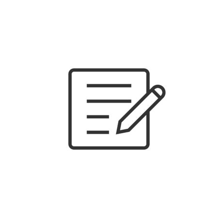 Blogging icon in flat style. Document with pen vector illustration on white isolated background. Content business concept. 向量圖像