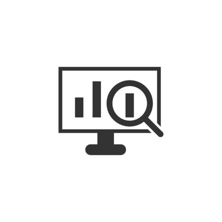 Website analytics icon in flat style. SEO data vector illustration on white isolated background. Computer diagram business concept.