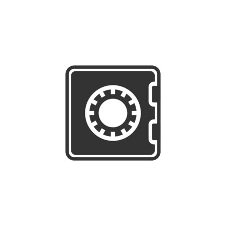 Safe money icon in flat style. Strongbox vector illustration on white isolated background. Finance security business concept. Illustration
