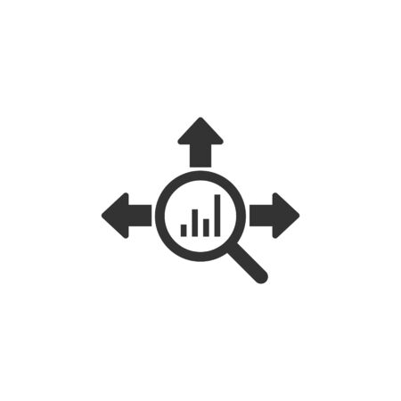 Market trend icon in flat style. Growth arrow with magnifier vector illustration on white isolated background. Increase business concept.