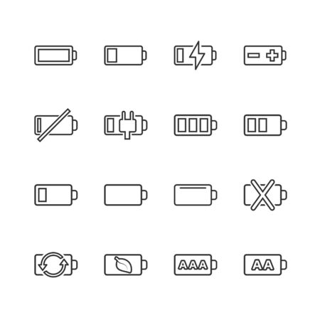 Battery charge icon set in flat style. Power level vector illustration on white isolated background. Lithium accumulator business concept.  イラスト・ベクター素材