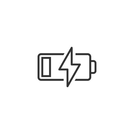 Battery charge icon in flat style. Power level vector illustration on white isolated background. Lithium accumulator business concept.  イラスト・ベクター素材