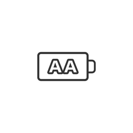 AA battery icon in flat style. Power level vector illustration on white isolated background. Lithium accumulator business concept.  イラスト・ベクター素材