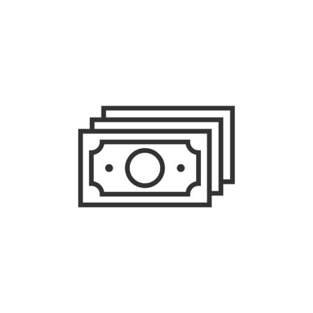 Money stack icon in flat style. Exchange cash vector illustration on white isolated background. Banknote bill business concept.  イラスト・ベクター素材