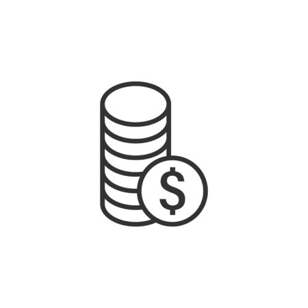 Coins stack icon in flat style. Dollar coin vector illustration on white isolated background. Money stacked business concept.