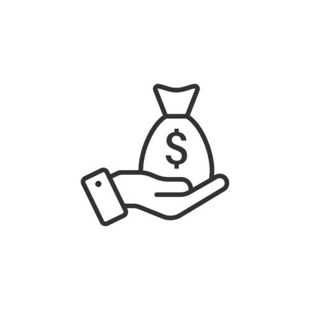 Remuneration icon in flat style. Money in hand vector illustration on white isolated background. Banknote payroll business concept.  イラスト・ベクター素材