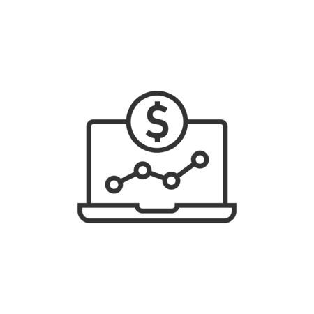 Laptop computer chart icon in flat style. Money diagram vector illustration on white isolated background. Financial process business concept.