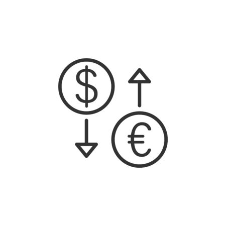 Currency exchange icon in flat style. Dollar euro transfer vector illustration on white isolated background. Financial process business concept.  イラスト・ベクター素材