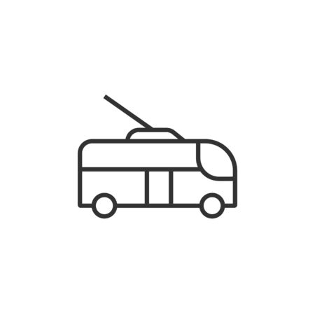 Trolleybus icon in flat style. Trolley bus vector illustration on white isolated background. Autobus vehicle business concept. Illustration