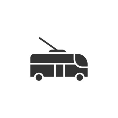 Trolleybus icon in flat style. Trolley bus vector illustration on white isolated background. Autobus vehicle business concept. Çizim