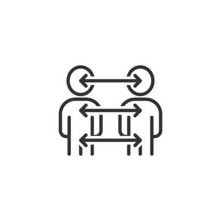 Icono de referencia de personas en estilo plano. Ilustración de vector de comunicación empresarial sobre fondo blanco. Concepto de negocio de trabajo en equipo de referencia.