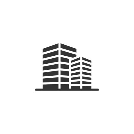 Building icon in flat style. Town skyscraper apartment vector illustration on white isolated background. City tower business concept.