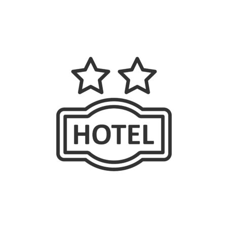 Hotel 2 stars sign icon in flat style. Inn vector illustration on white isolated background. Hostel room information business concept.